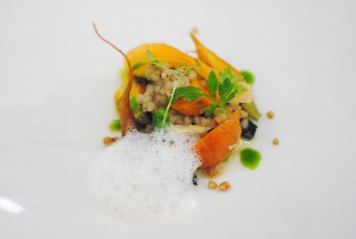 carrot, sprouting broccoli, yuba, puffed buckwheat, coconut milk, thai spices