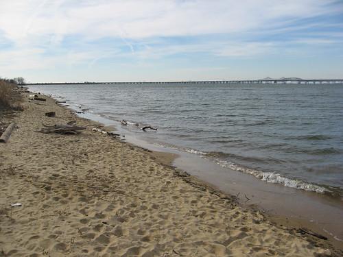 Chesapeake Bay. Looking at the William Preston Lane, Jr. Memorial Bay Bridge from the Terrapin Beach Park.
