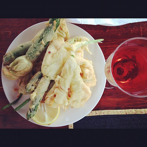 Been waiting all day for my zucchini flowers and a glass of rosè