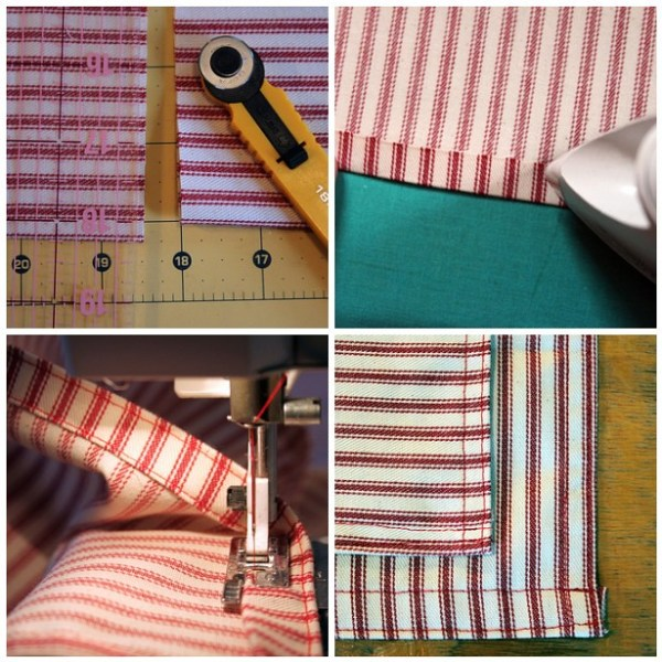 Cutting and heeming apron pieces