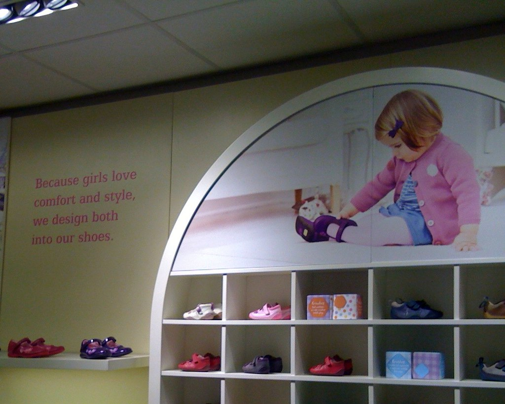 Photo of 'girls' display in Clarks children's shoes section