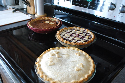 Shoofly pie, raspberry pie, peach cream pie