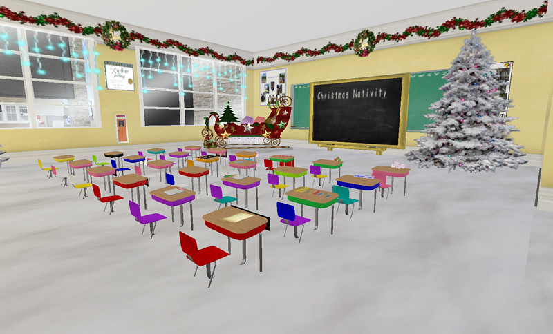 Miss Maisie's Classroom at Hardknock Elementary, decorated for Christmas
