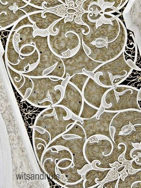 Intricate ceiling in Sheikh Zayed Grand Mosque, Abu Dhabi, UAE