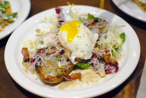 Crostone house cured pancetta, poached duck egg & parmesan2
