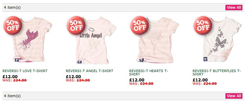 Screenshot of tshirts for girls from greenbaby.com