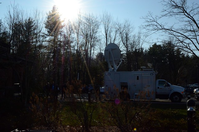 Media truck in the New Hampshire sun