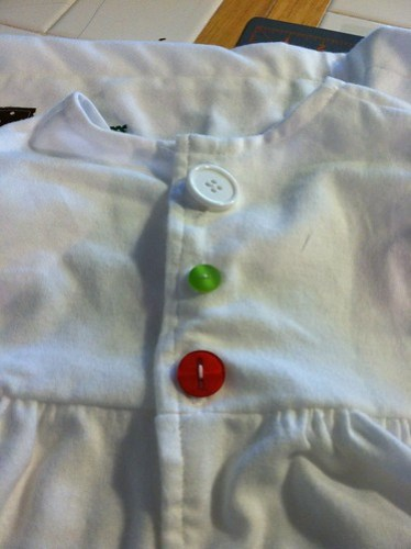 happy mismatched buttons (christmas 2011 jammies)