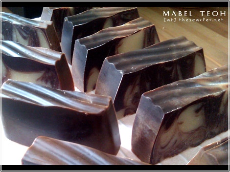 """Chocolate Marble Loaf"" Soap: All cut up into bars and curing"
