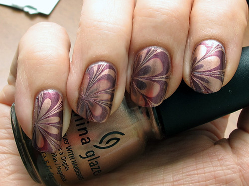 Water marble with China Glaze Poetic & Joy