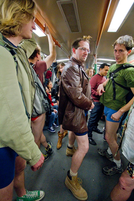 No Pants Subway Ride San Francisco 2012: crowded on to the BART