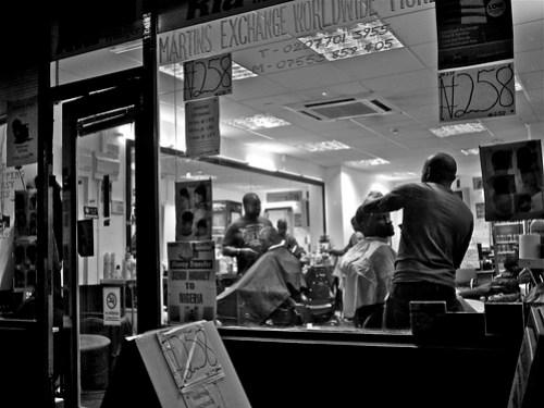 African men in a barber's shop