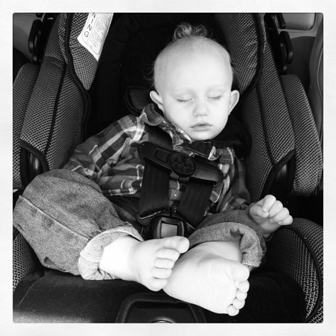 Sleeping Traveler #janphotoaday #all_shots #iphone4 #instagram #instagood #baby #blackandwhite #sleep