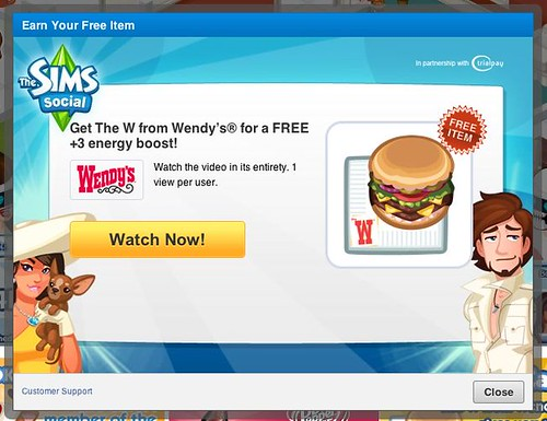 The Sims Social gives away free digital Wendy's burgers