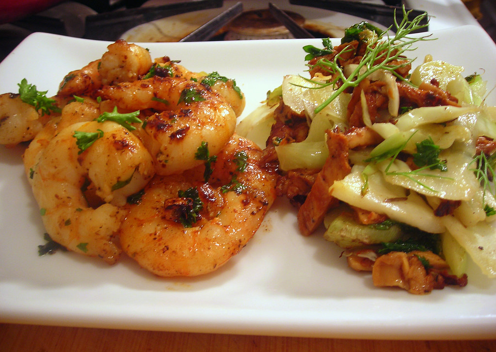 Gambas al ajillo (shrimp with garlic and parsley); warm chanterelle mushroom salad, with fennel and cauliflower