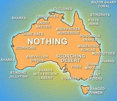 Dangerous: Map of Australia.