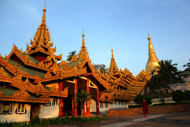 The South Gate of Swedagon Pagoda in the morning