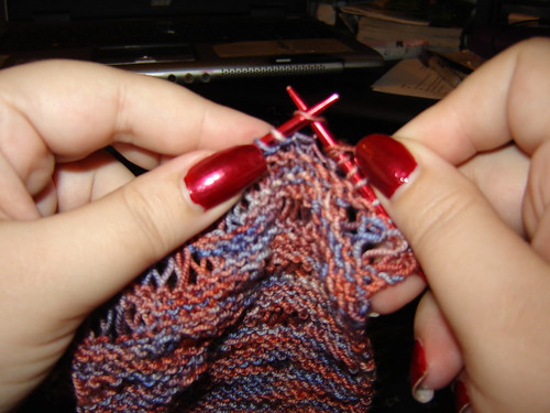 Working on the Drop Stitch Scarf