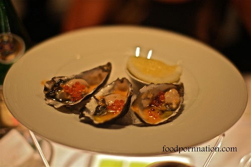 Freshly Shucked Coffin Bay Pacific Oyster served with Salmon Pearls and Pendolino Tomato Vinaigrette @ Pendolino