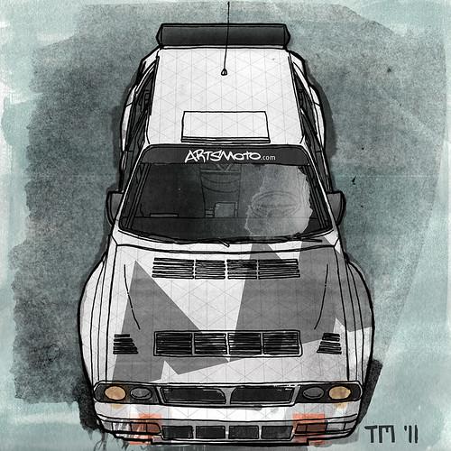 Drawing Of A Lancia Delta Integrale HF Rally Car