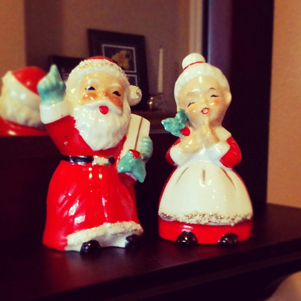 My grandmas salt and pepper shakers. So glad I saved these from the trash!