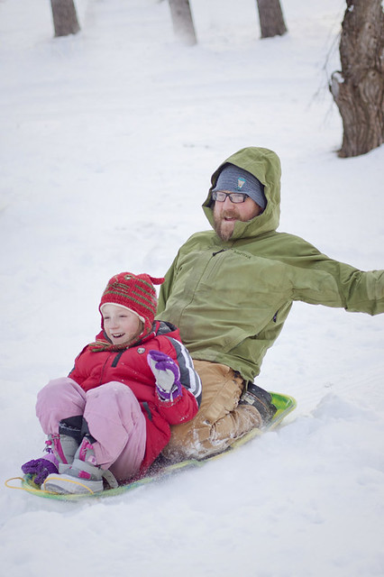 Sled with dad