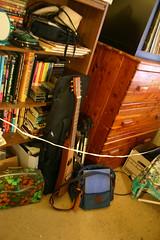 Guitar, Chest, Bookshelf