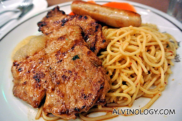 My pork loin with spaghetti and sausage