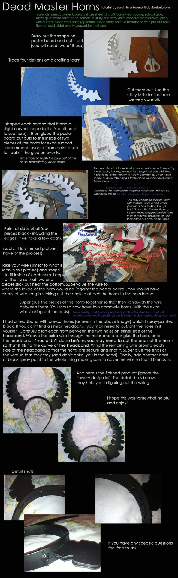 How to Make Black Rock Shooter Wiki Dead Master Horns for Cosplay_1