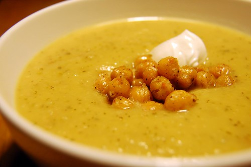 Potato-Leek-Zucchini Soup with toasted chickpeas by Carmyarmyofme