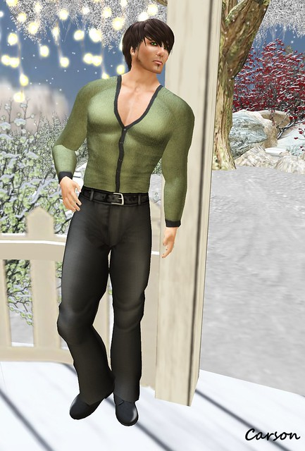 Wilson's Green V Neck Shirt & A New Man Pants