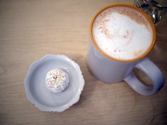 Mug of Flat White, Mexican Snowball Cookie, ReStore Living Cafe, Tanjong Pagar Road