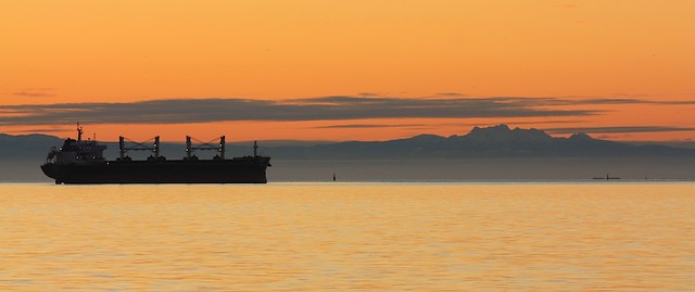English Bay, Georgia Strait, Salish Bay, sunset, Vancouver, Canada