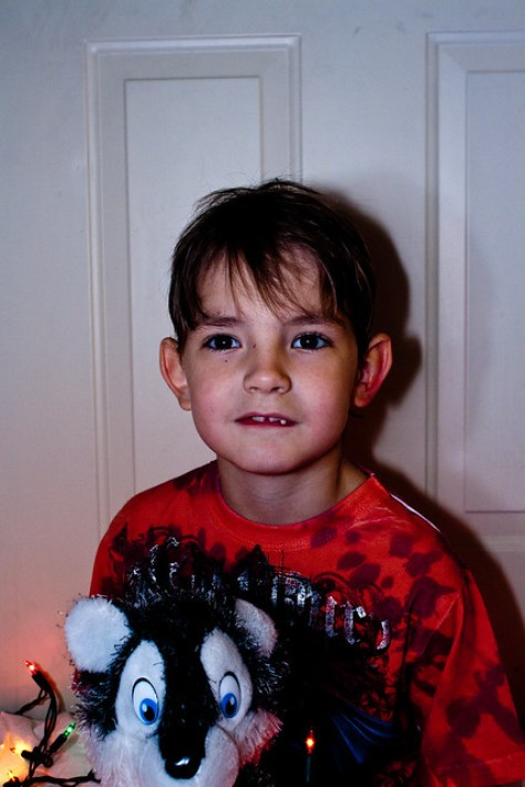 Ethan With Wolfie & Christmas Lights