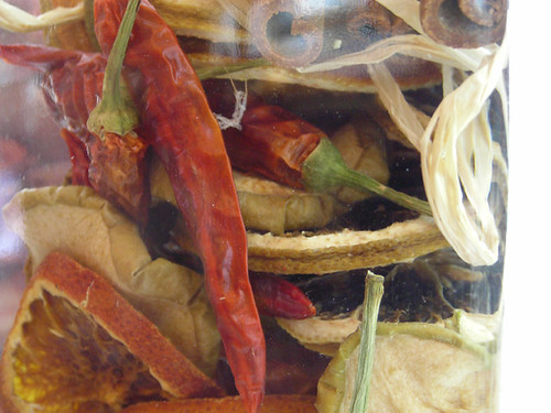 Dried fruits and chillies