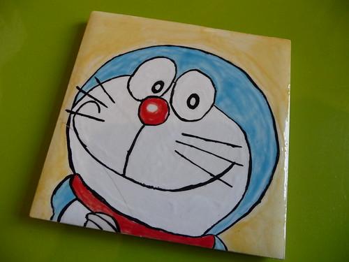 Painted Doraemon coaster