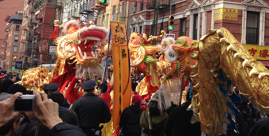 Dragon face off at the Chinese New Year Parade NYC 2012