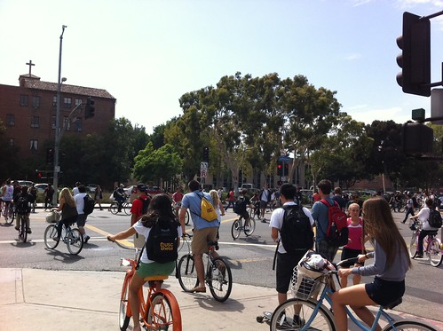 The corner of Hoover and Jefferson - a busy intersection just outside of USC