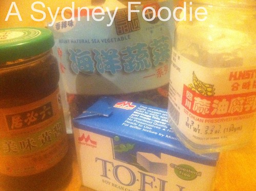 Spicy tofu ingredients