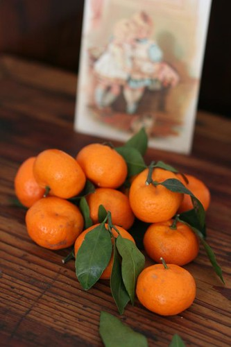 oranges with cards
