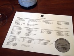 Vasse Felix Wine Tasting Menu and Prices