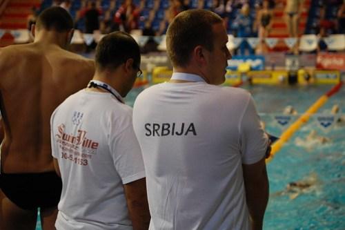 Team Serbia and SwimVille on deck at Rijeka 2008