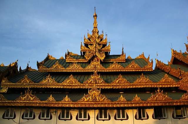 Beautiful decorations on the roof - Swedagon Pagoda, Yangon