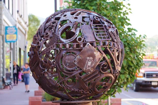 Scrap metal sphere, Manitou Springs, Colorado, September 10, 2011
