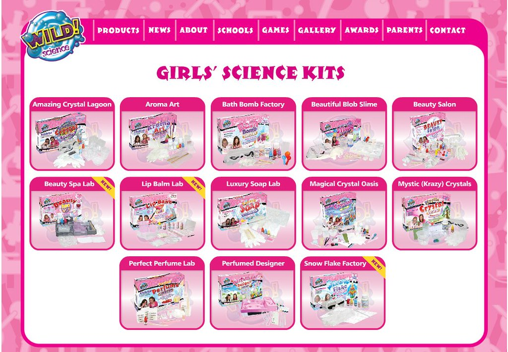 Screenshot of Wild Science Girls' Science Kits, including Bath Bomb Factory, Beauty Salon, etc.