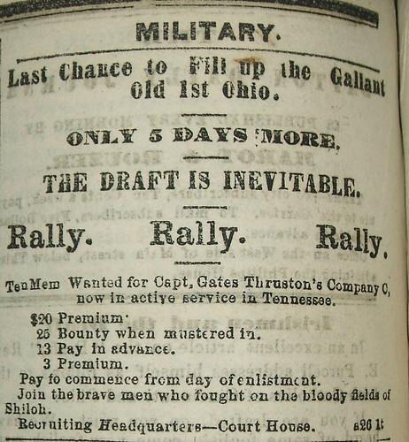 Recruitment Ad for 1st O.V.I., Dayton Journal, Aug. 29, 1862