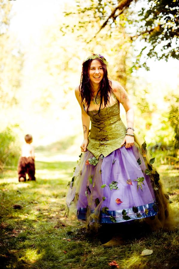 Green And Purple Fairy Wedding Dress Offbeat Bride