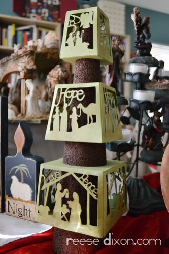 Papercut Nativity Tree