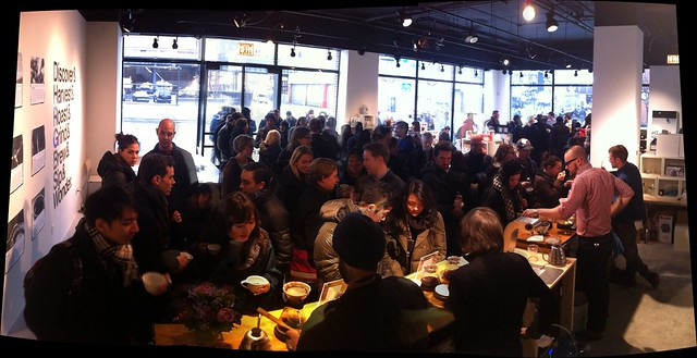 Panorama of the line and packed @coffeecommon