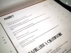 Sherry menu, Esquina Tapas Bar, Jiak Chuan Road, Keong Saik, Tanjong Pagar